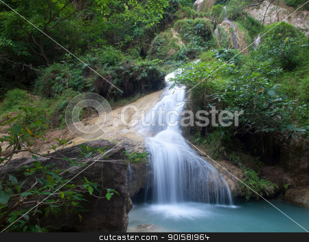 Erawan waterfall stock photo, Emerald color water in tier seventh of Erawan waterfall, Erawan National Park, Kanchanaburi, Thailand by Exsodus