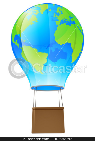 Hot air balloon globe stock vector clipart, Illustration of a world globe hot air balloon  by Christos Georghiou