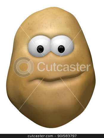funny potato stock photo, funny potato with cartoon face - 3d illustration by J?