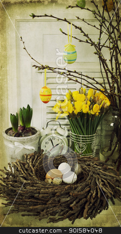 easter composition stock photo, easter composition with eggs and spring flowers by klenova