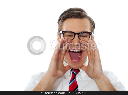 Closeup shot of a young man shouting loud stock photo, Excited young man shouting with glasses on against white background by Ishay Botbol