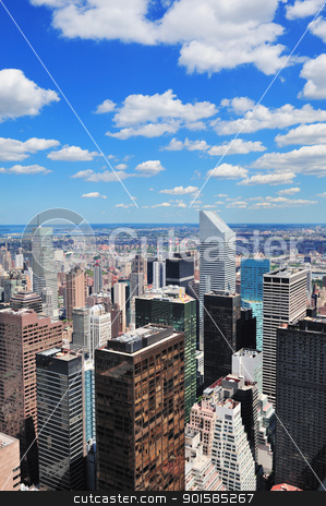 New York City skyscrapers stock photo, New York City Manhattan midtown aerial panorama view with skyscrapers and blue sky in the day. by rabbit75_cut