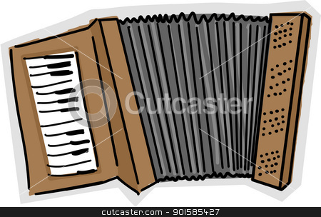 Accordion Sketch stock vector clipart, Color sketch of an accordion over white background by Eric Basir