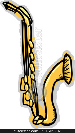 Saxophone Doodle stock vector clipart, Doodle drawing of a saxophone with sound coming from it by Eric Basir