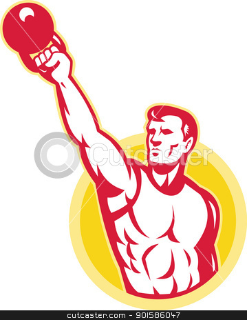 Kettlebell Exercise Weight Training Retro stock vector clipart, Illustration of a muscle male exercising using kettlebell on isolated background.  by patrimonio