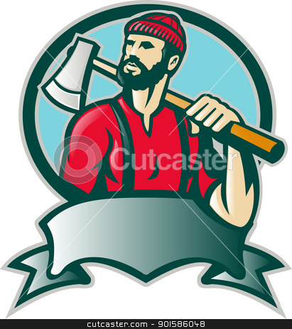 Lumberjack Forester With Axe stock vector clipart, Illustration of a lumber jack forester logger carrying an ax looking up with scroll done in retro style. by patrimonio