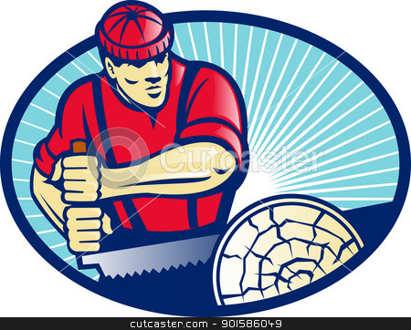 Lumberjack Sawyer With Cross-cut Saw stock vector clipart, Illustration of lumber jack sawyer forester sawing timber log with cross-cut saw done in retro style set inside ellipse. by patrimonio
