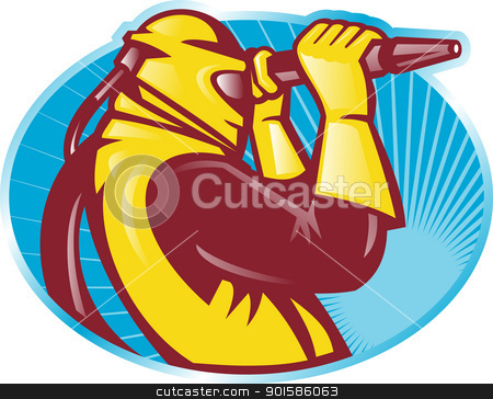 Sandblaster Working With Hose stock vector clipart, Illustration of a sandblaster worker working with hose viewed from side done in retro woodcut style set inside ellipse. by patrimonio