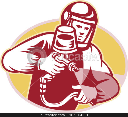 Spray Painter Spraying Paint Retro stock vector clipart, Illustration of a spray painter spraying paint facing front set inside ellipse done in retro style.  by patrimonio