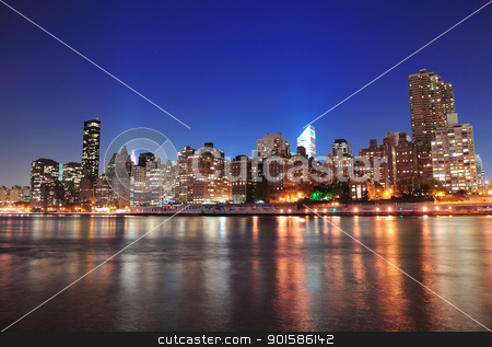 New York City Manhattan midtown skyline stock photo, New York City Manhattan midtown skyline at night over East River. by rabbit75_cut