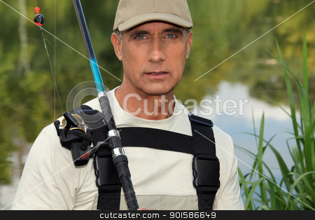 handsome middle-aged fisherman by riverside stock photo, handsome middle-aged fisherman by riverside by photography33