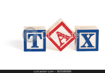 Simple Tax stock photo, Alphabet blocks arranged to spell the word,