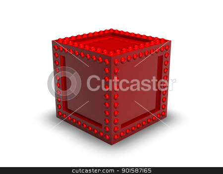 Red Metal Box stock photo, 3d rendered Illustration. Iron Box. by Michael Osterrieder