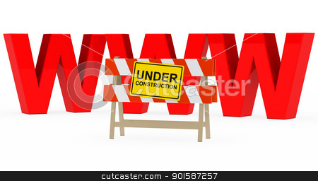 www under construction stock photo, red www with under construction barrier sign by d3images