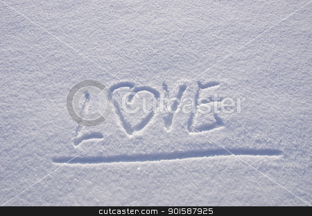 love snow winter Concept expression feelings  stock photo, Inscription love on snow in winter. Concept expression of human feelings.  by sauletas