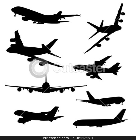 Airplane silhouettes stock photo, Airplane silhouettes, black isolated on white background  by lkeskinen
