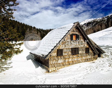 Mountain house stock photo, Mountain house or log cabin somewhere in Alps. by Sinisa Botas
