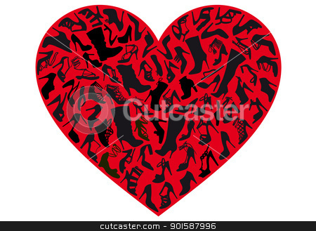 red shoe heart, vector stock vector clipart, various shoe silhouettes in red heart, vector background by Beata Kraus