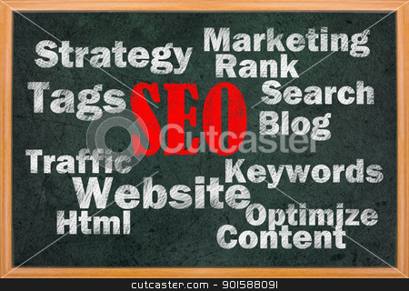 SEO concept with other related words stock photo, SEO concept with other related words on retro blackboard by Lawren
