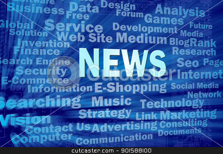 News concept on blue virtual space with related words  stock photo, News concept in blue virtual space with internet related words  by Lawren