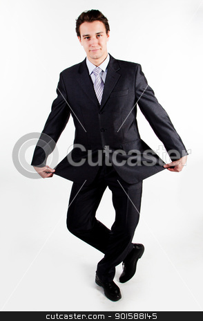 funny businessman stock photo, A young businessman and funny in a strict business suit by Artamonov Yury