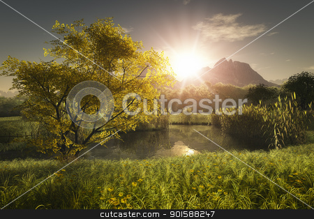 maple tree stock photo, An image of a yellow maple tree and a little lake by Markus Gann