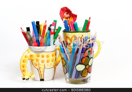 pen holders  with colored pens on a white background  stock photo, pen holders full of brightly colored pens on a white background  by Artush