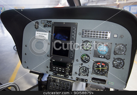 Cockpit of an Eurocopter E120 stock photo, This helicopter is used for spanish new pilots training by Salva Reyes