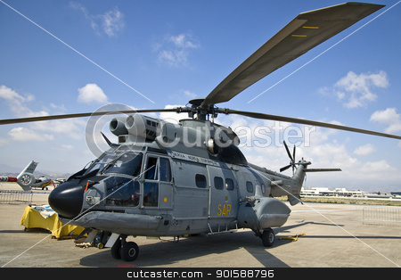 Spanish Save and Rescue (SAR) helicopter stock photo, Picture taken at Malaga Airport (Spain). by Salva Reyes