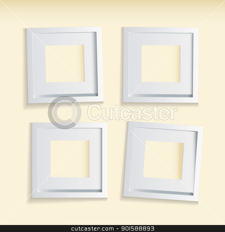 Picture frame beige background stock vector clipart, Four modern clean picture frames with beige background by Michael Travers