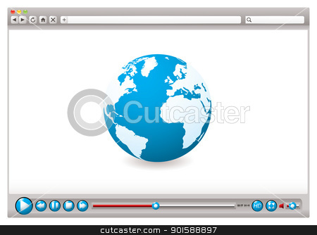 Web video browser world stock vector clipart, World wide web browser with globe and video control buttons by Michael Travers