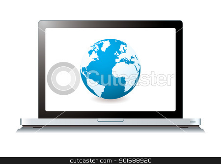 web world laptop stock vector clipart, Modern laptop with world wide web internet icon by Michael Travers