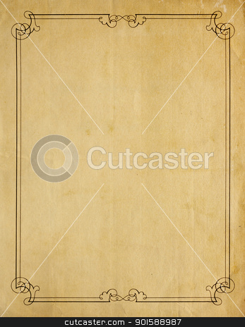 Very Old Blank Paper Background With Scroll Border stock photo, Aged and worn paper with abrasions, and creases and moderately ornate border printed in black ink, but page is otherwise blank with room for text or images. by Mark Carrel