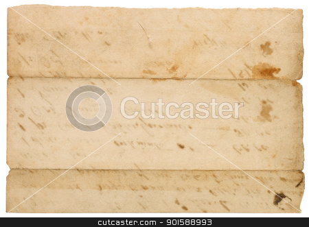 Collection of Vintage Paper Scraps stock photo, Set of six antique paper scraps isolated on white. Several pieces are empty with room for text or images. by Mark Carrel