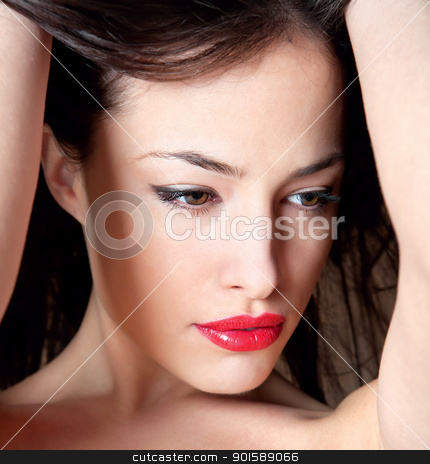 Close up of pretty black hair girl stock photo, Close up of pretty black hair girl, holding hands up by iMarin