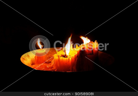 Candlelight bright Under the dark stock photo, Candles in the bowl and bright in the dark by ParinNira