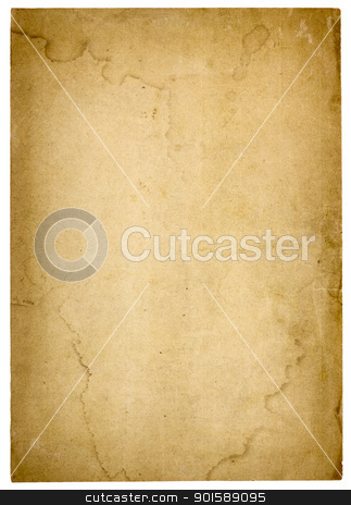 Very Old, Stained Blank Paper stock photo, Aged, worn paper with abrasions, water stains and  rough edges. Blank with room for text or images. Isolated on White. Includes clipping path. by Mark Carrel