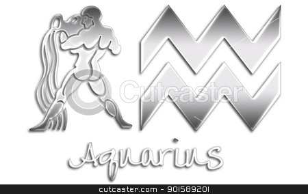 Aquarius Zodiac Signs - Chrome stock photo, zodiac signs by StacyO