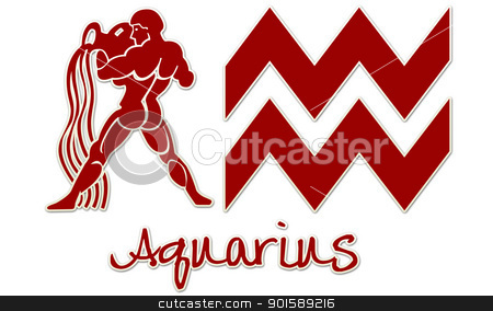 Aquarius Zodiac Signs - Red Sticker stock photo, zodiac signs by StacyO