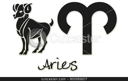 Aries Zodiac Signs - Black Sticker stock photo, zodiac signs by StacyO