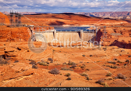 Glen Canyon Dam Lake Powell Electric Power Towers Lines Arizona stock photo, Glen Canyon Dam Bridge Lake Powell Arizona.  Orange Canyon and Electric Power Lines. by William Perry