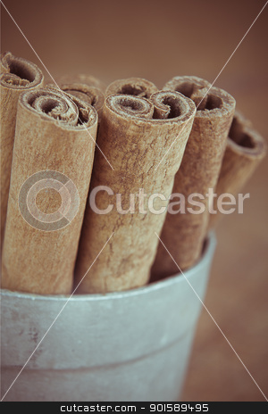 Cinnamon Sticks stock photo, Closeup of a group of cinnamon sticks in a tin cup. by Psychopu