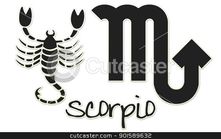 Scorpio Signs - Black Sticker stock photo, zodiac signs by StacyO