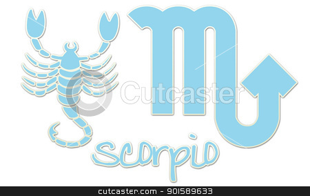 Scorpio Signs - Blue Sticker stock photo, zodiac signs by StacyO