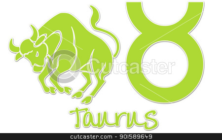 Taurus Zodiac Signs - Lime Sticker stock photo, zodiac signs by StacyO