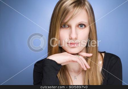 Dreamy young blond woman. stock photo, Closeup portrait of a beautiful dreamy young blond woman. by exvivo