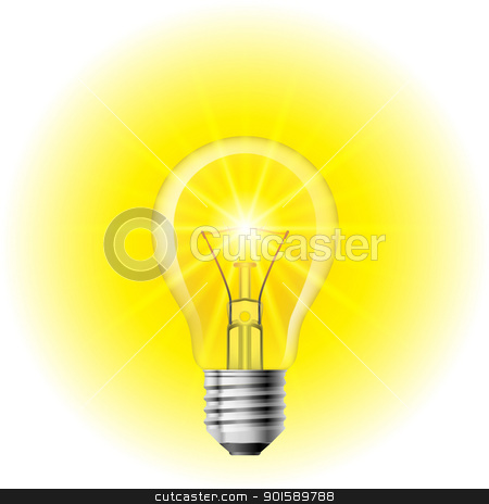 Light bulb stock photo, Light  Filament lamp on a white background. Illustration for design by dvarg