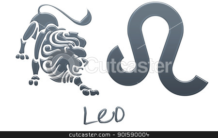 Leo Zodiac Signs - Navy Plastic stock photo, zodiac signs by StacyO
