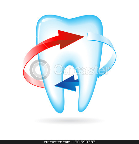 Tooth stock photo, Tooth with arrows. Vector illustration on white by dvarg