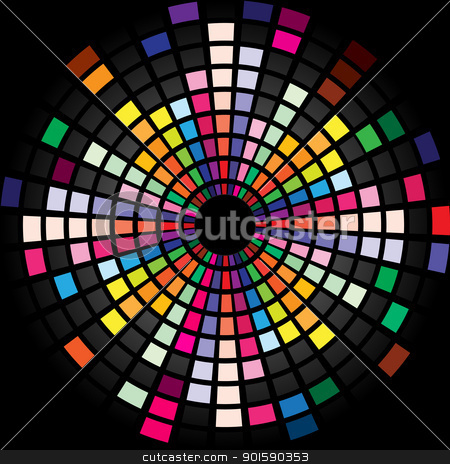 Sound waveform stock photo, Colorful Graphic Equalizer Display for title page design. Circle. by dvarg